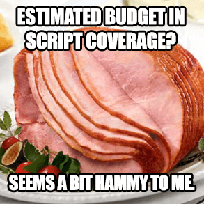 "Ham picture with caption ""Estimated budget in script coverage? Seems a bit hammy to me.."""