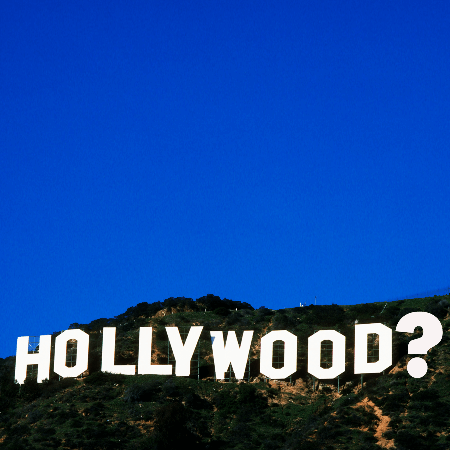 Hollywood sign with question mark at the end